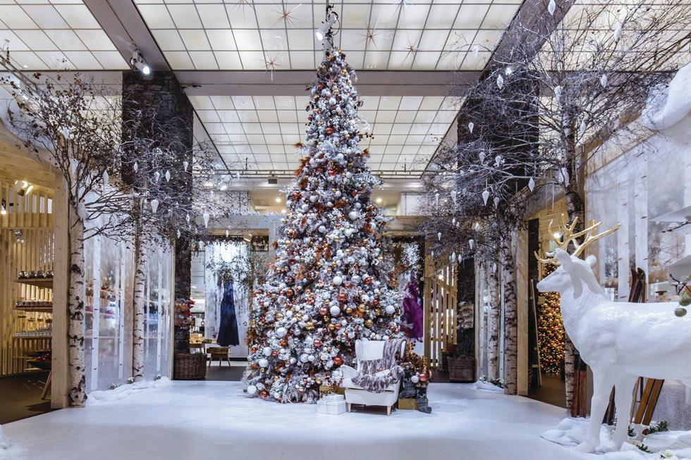 all white christmas displays for retail